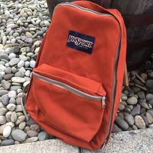 🌿Jansport | Rust & Leather Canvas Backpack